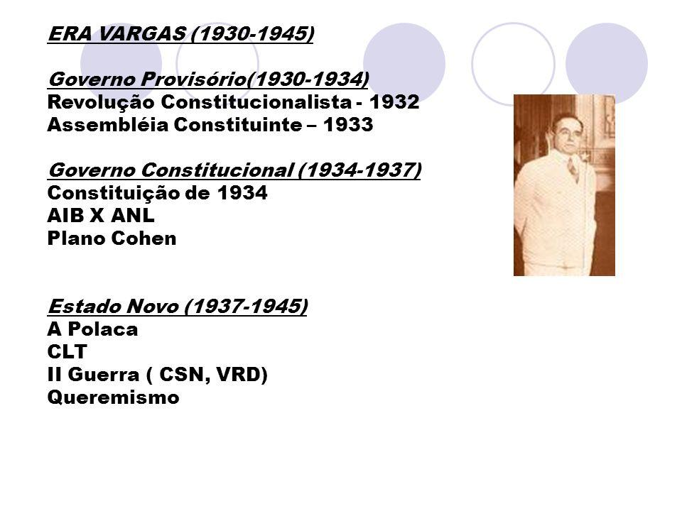 ERA VARGAS (1930-1945) Governo Provisório(1930-1934) Revolução Constitucionalista - 1932 Assembléia Constituinte – 1933 Governo Constitucional (1934-1