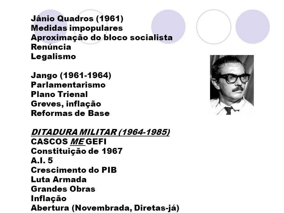 Jânio Quadros (1961) Medidas impopulares Aproximação do bloco socialista Renúncia Legalismo Jango (1961-1964) Parlamentarismo Plano Trienal Greves, in