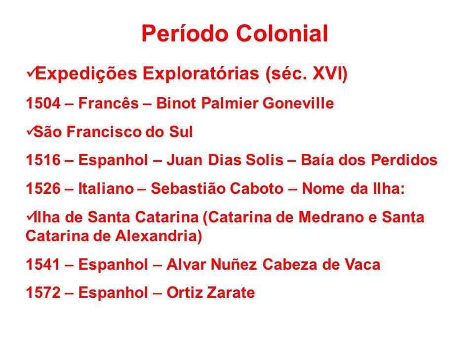 Período Colonial Expedições Exploratórias (séc.