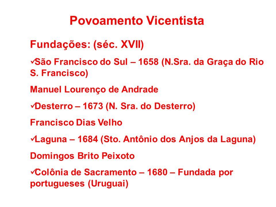 Povoamento Vicentista Fundações: (séc.XVII) São Francisco do Sul – 1658 (N.Sra.