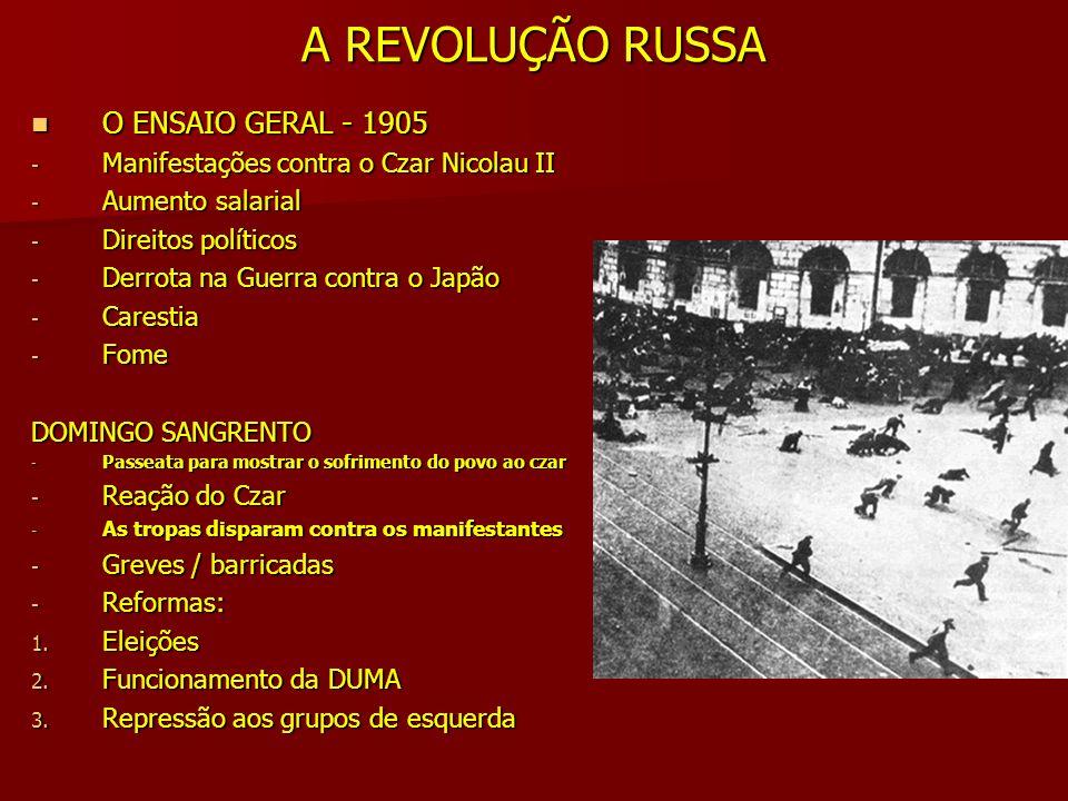 A REVOLUÇÃO RUSSA A REVOLUÇÃO DE FEVEREIRO A REVOLUÇÃO DE FEVEREIRO - Crise Geral + Primeira Guerra Mundial - Passeatas Pão, paz e terra - Greves - Motins das tropas czaristas - Nicolau II renuncia - A República é proclamada - Governo democrático-burguês - Manteve a Rússia na guerra - Chefe: Kerensky + mencheviques - Lênin chega à Rússia Todo poder aos soviets - Rússia na guerra= miséria/fome/desemprego/mortes - Fortes manifestações populares - O povo derruba o GOVERNO PROVISÓRIO