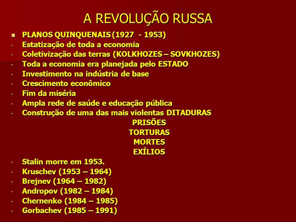 A REVOLUÇÃO RUSSA PLANOS QUINQUENAIS (1927 - 1953) PLANOS QUINQUENAIS (1927 - 1953) - Estatização de toda a economia - Coletivização das terras (KOLKH