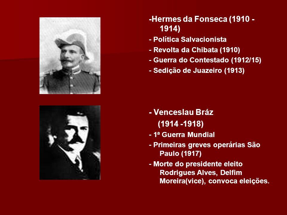 -Epitácio Pessoa (1919 – 1922) (1919 – 1922) -Tenentismo (RJ,RS,SP) - Fundação do Partido Comunista - Semana de Arte Moderna(1922) -Artur Bernardes (1922 – 1926) (1922 – 1926) - Coluna Prestes (1924/26) - Governou sob Estado de Sítio