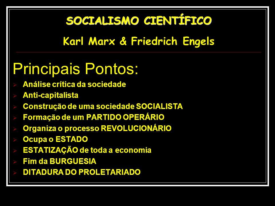 Principais Pontos: Análise crítica da sociedade Anti-capitalista Construção de uma sociedade SOCIALISTA Formação de um PARTIDO OPERÁRIO Organiza o pro