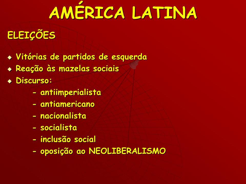 AMÉRICA LATINA ELEIÇÕES Vitórias de partidos de esquerda Vitórias de partidos de esquerda Reação às mazelas sociais Reação às mazelas sociais Discurso