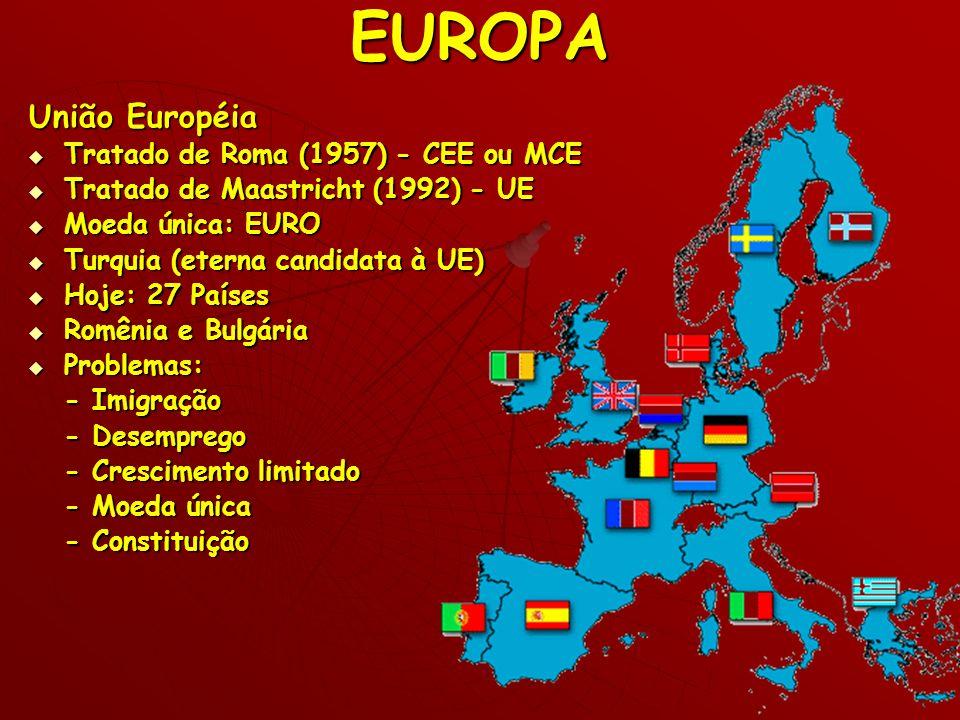 EUROPA União Européia Tratado de Roma (1957) - CEE ou MCE Tratado de Roma (1957) - CEE ou MCE Tratado de Maastricht (1992) - UE Tratado de Maastricht