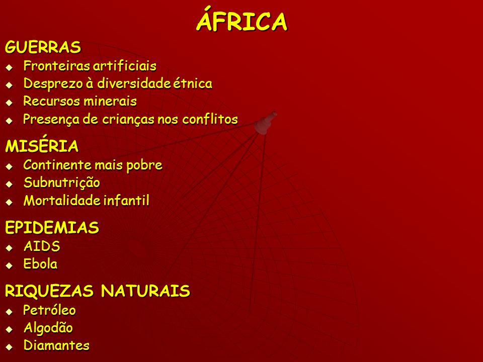 ÁFRICA GUERRAS Fronteiras artificiais Fronteiras artificiais Desprezo à diversidade étnica Desprezo à diversidade étnica Recursos minerais Recursos mi