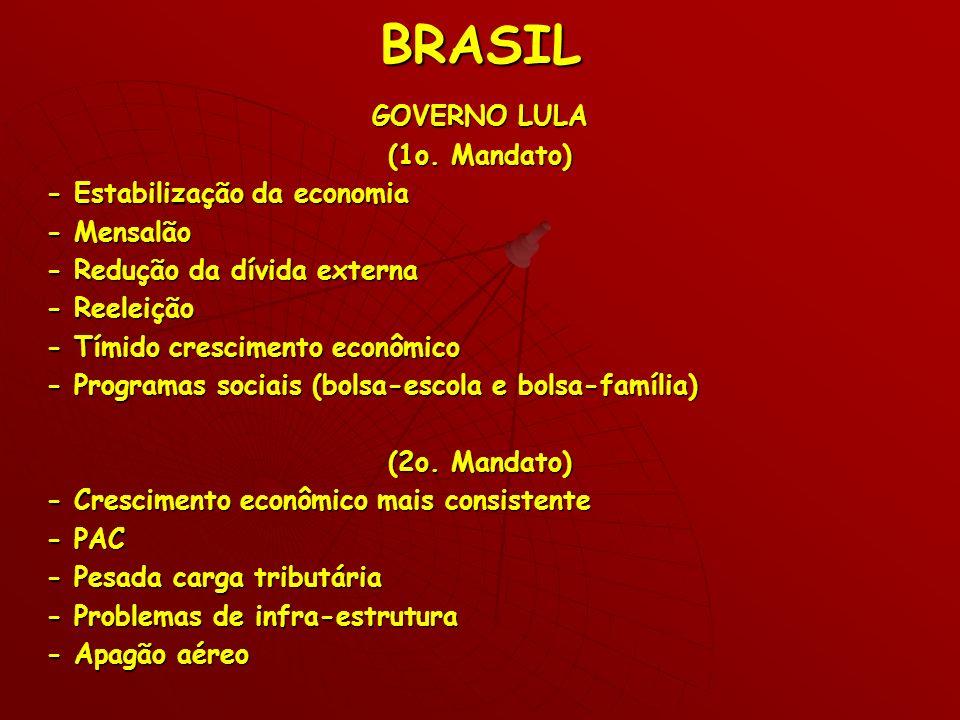 BRASIL GOVERNO LULA (1o. Mandato) - Estabilização da economia - Mensalão - Redução da dívida externa - Reeleição - Tímido crescimento econômico - Prog
