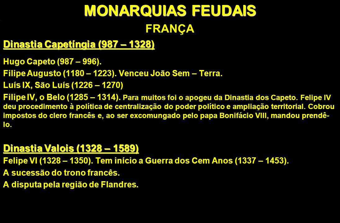 MONARQUIAS FEUDAIS FRANÇA Dinastia Capetíngia (987 – 1328) Hugo Capeto (987 – 996). Filipe Augusto (1180 – 1223). Venceu João Sem – Terra. Luís IX, Sã