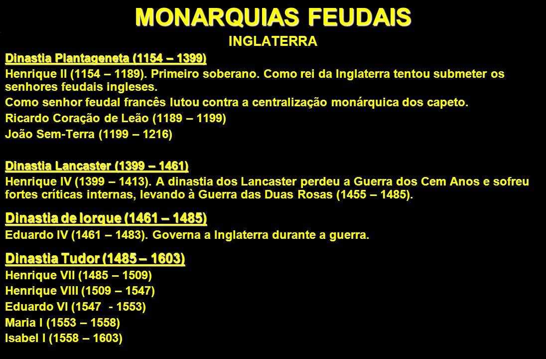 MONARQUIAS FEUDAIS INGLATERRA Dinastia Plantageneta (1154 – 1399) Henrique II (1154 – 1189). Primeiro soberano. Como rei da Inglaterra tentou submeter
