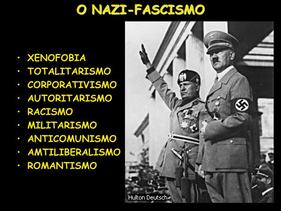 O NAZI-FASCISMO XENOFOBIA TOTALITARISMO CORPORATIVISMO AUTORITARISMO RACISMO MILITARISMO ANTICOMUNISMO AMTILIBERALISMO ROMANTISMO