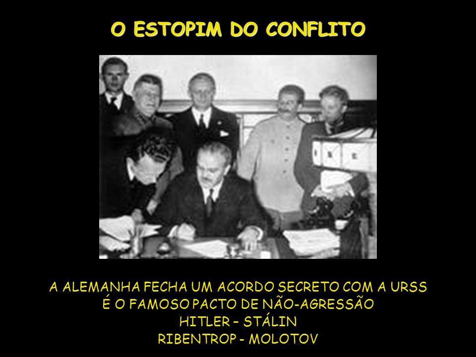 O ESTOPIM DO CONFLITO A ALEMANHA FECHA UM ACORDO SECRETO COM A URSS É O FAMOSO PACTO DE NÃO-AGRESSÃO HITLER – STÁLIN RIBENTROP - MOLOTOV