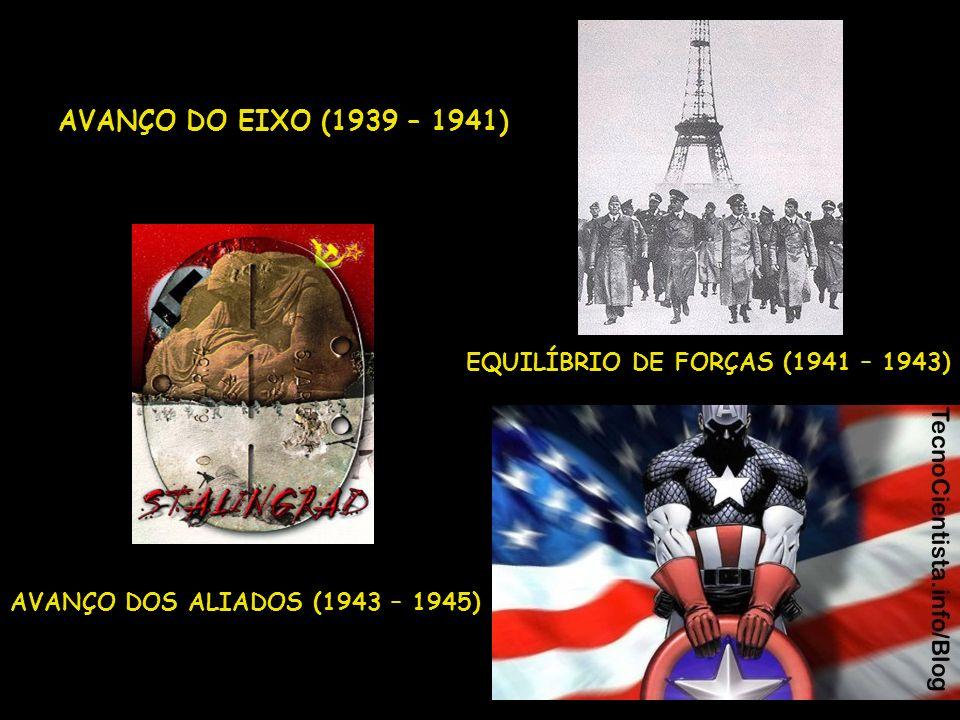 AVANÇO DO EIXO (1939 – 1941) EQUILÍBRIO DE FORÇAS (1941 – 1943) AVANÇO DOS ALIADOS (1943 – 1945)