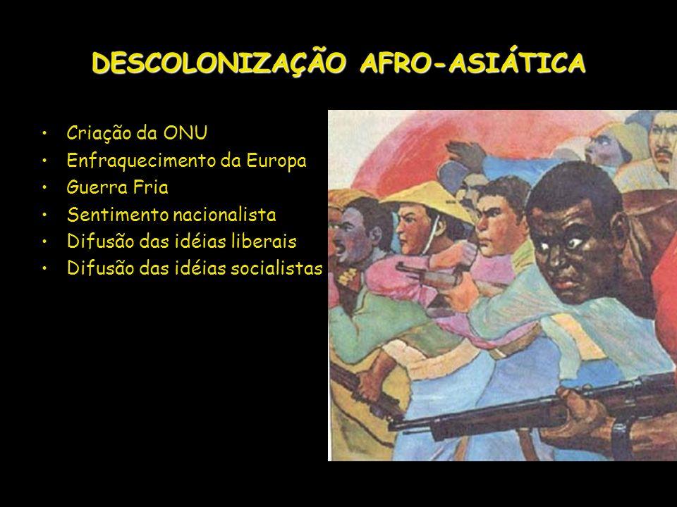 DESCOLONIZAÇÃO AFRO-ASIÁTICA Criação da ONU Enfraquecimento da Europa Guerra Fria Sentimento nacionalista Difusão das idéias liberais Difusão das idéi