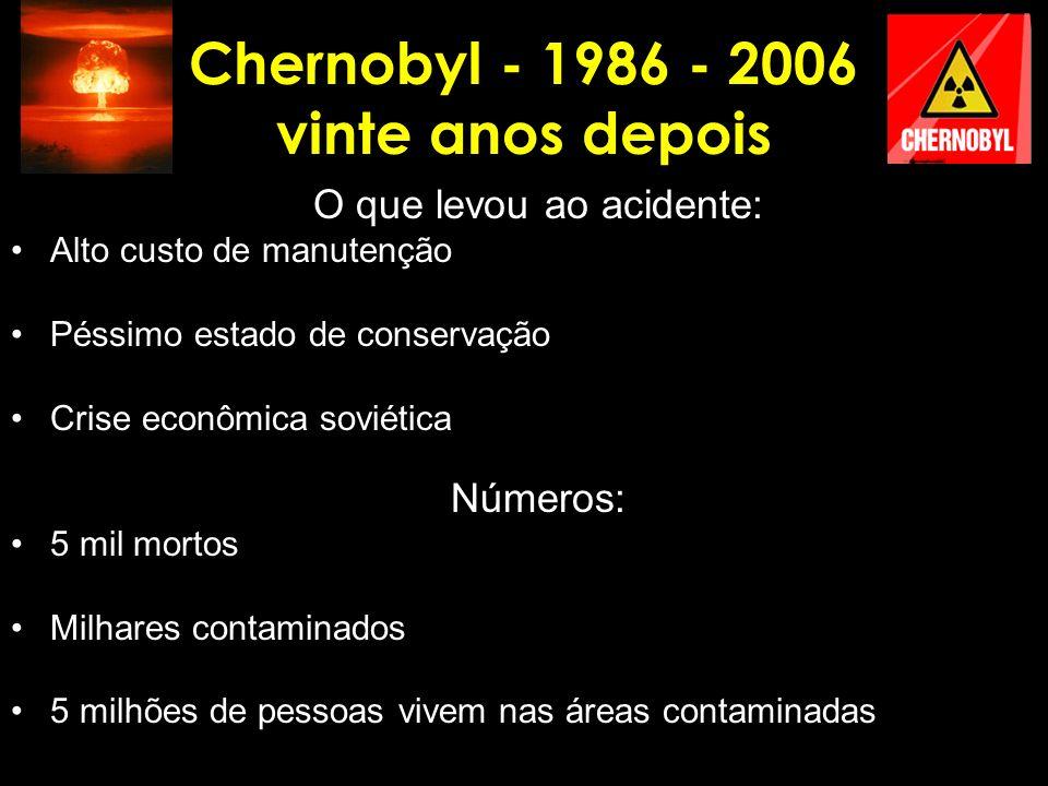 Chernobyl - 1986 - 2006 vinte anos depois O que levou ao acidente: Alto custo de manutenção Péssimo estado de conservação Crise econômica soviética Nú