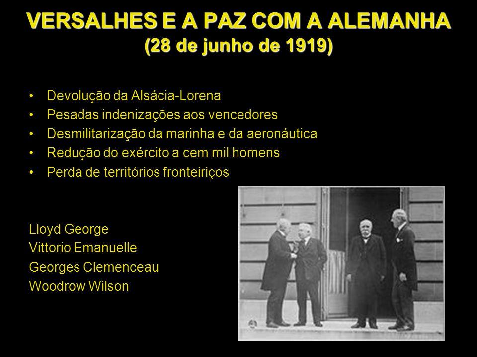 VERSALHES E A PAZ COM A ALEMANHA (28 de junho de 1919) Devolução da Alsácia-Lorena Pesadas indenizações aos vencedores Desmilitarização da marinha e d