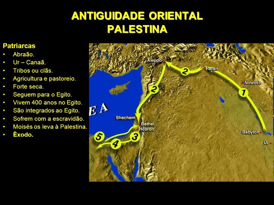 Patriarcas Abraão. Ur – Canaã. Tribos ou clãs. Agricultura e pastoreio. Forte seca. Seguem para o Egito. Vivem 400 anos no Egito. São integrados ao Eg