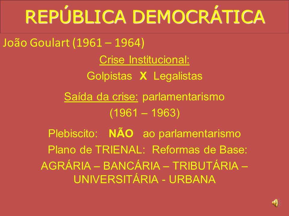 Jânio (1961) Medidas moralizadoras e moralistas. Político conservador. Aproximação com o bloco socialista: * Cuba. * China. * URSS. Não possuía maiori