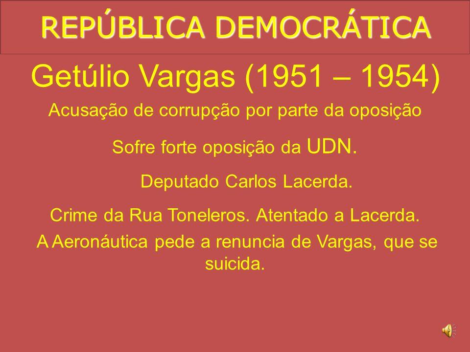 REPÚBLICA DEMOCRÁTICA Getúlio Vargas (1951 – 1954) Nacionalismo. Criação da Petrobras. Criação do BNDES. Inflação.