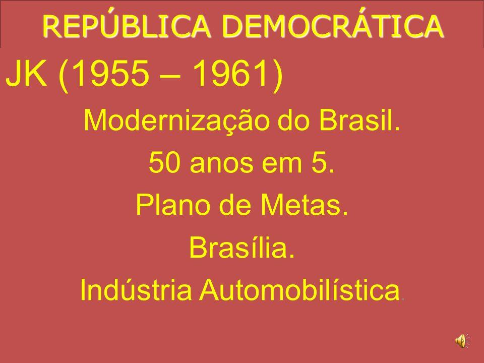 REPÚBLICA DEMOCRÁTICA Getúlio Vargas (1951 – 1954) Acusação de corrupção por parte da oposição Sofre forte oposição da UDN. Deputado Carlos Lacerda. C