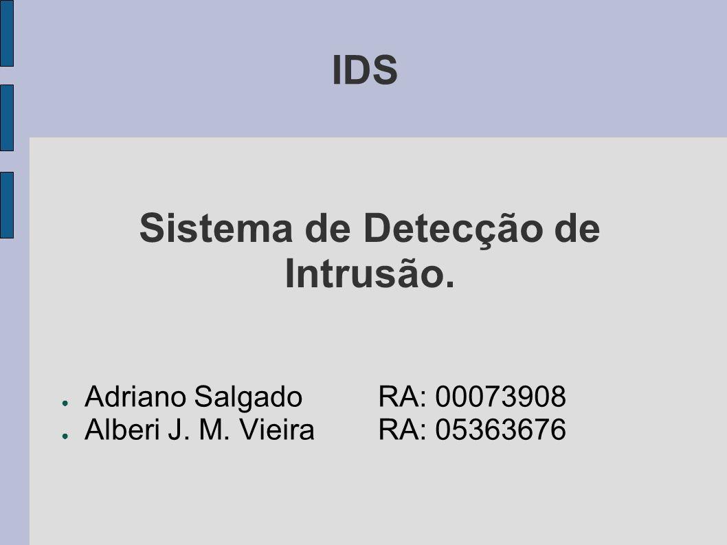 IDS Adriano SalgadoRA: 00073908 Alberi J. M. Vieira RA: 05363676 Sistema de Detecção de Intrusão.