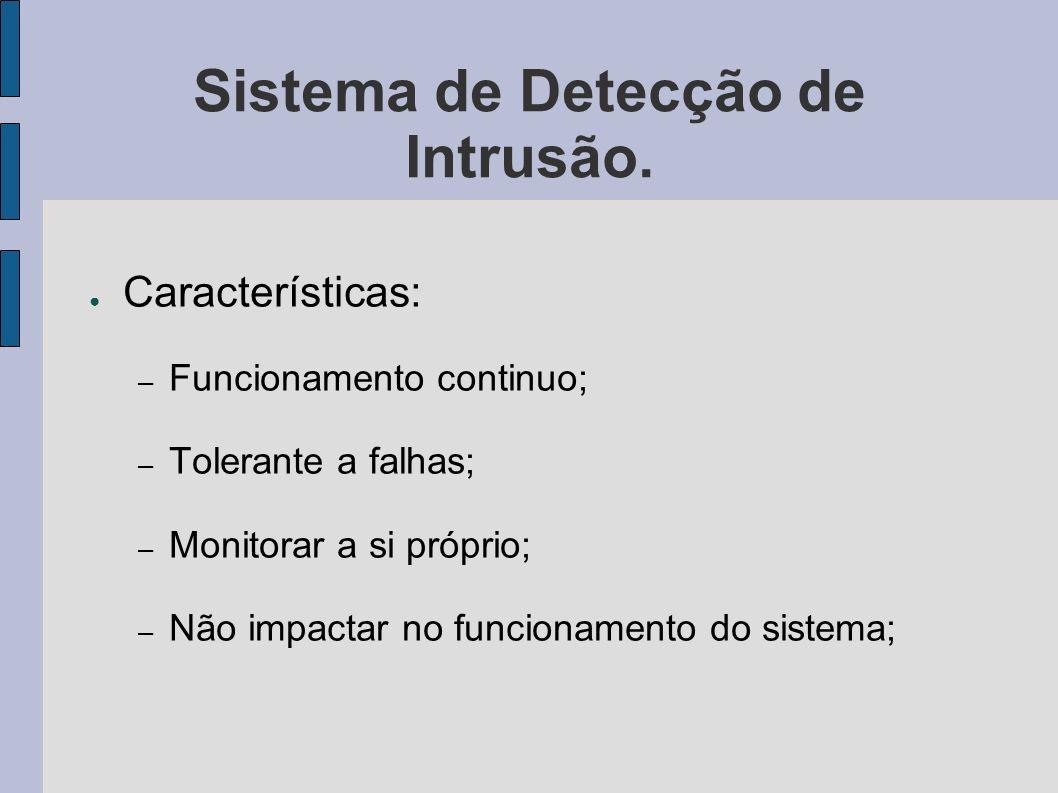 Sistema de Detecção de Intrusão. Características: – Funcionamento continuo; – Tolerante a falhas; – Monitorar a si próprio; – Não impactar no funciona