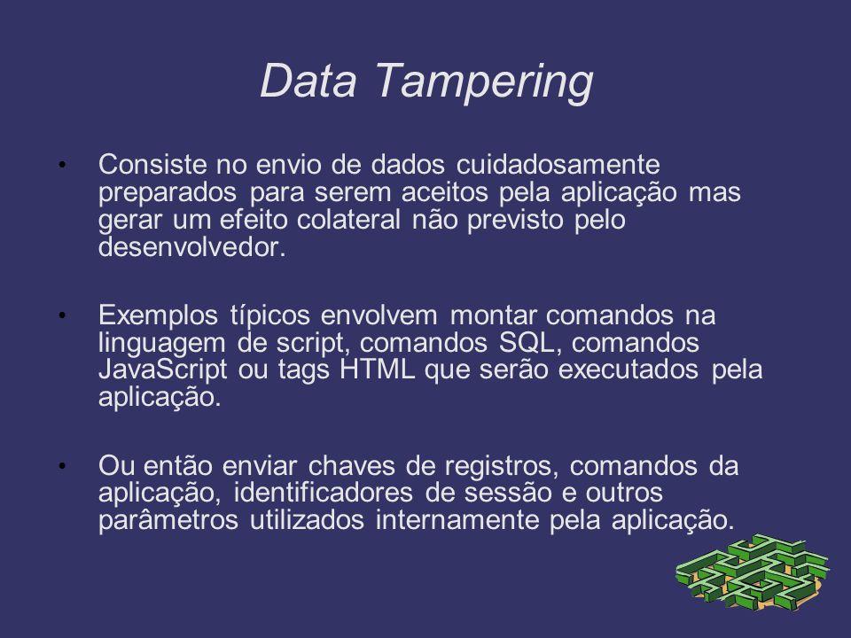 Data Tampering Consiste no envio de dados cuidadosamente preparados para serem aceitos pela aplicação mas gerar um efeito colateral não previsto pelo