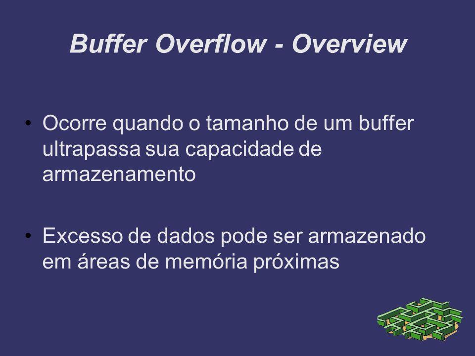 Buffer Overflow - Overview Ocorre quando o tamanho de um buffer ultrapassa sua capacidade de armazenamento Excesso de dados pode ser armazenado em áre