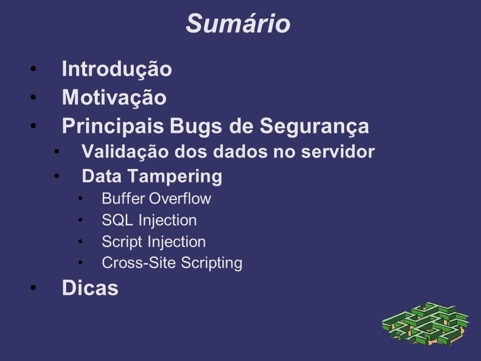 Sumário Introdução Motivação Principais Bugs de Segurança Validação dos dados no servidor Data Tampering Buffer Overflow SQL Injection Script Injectio