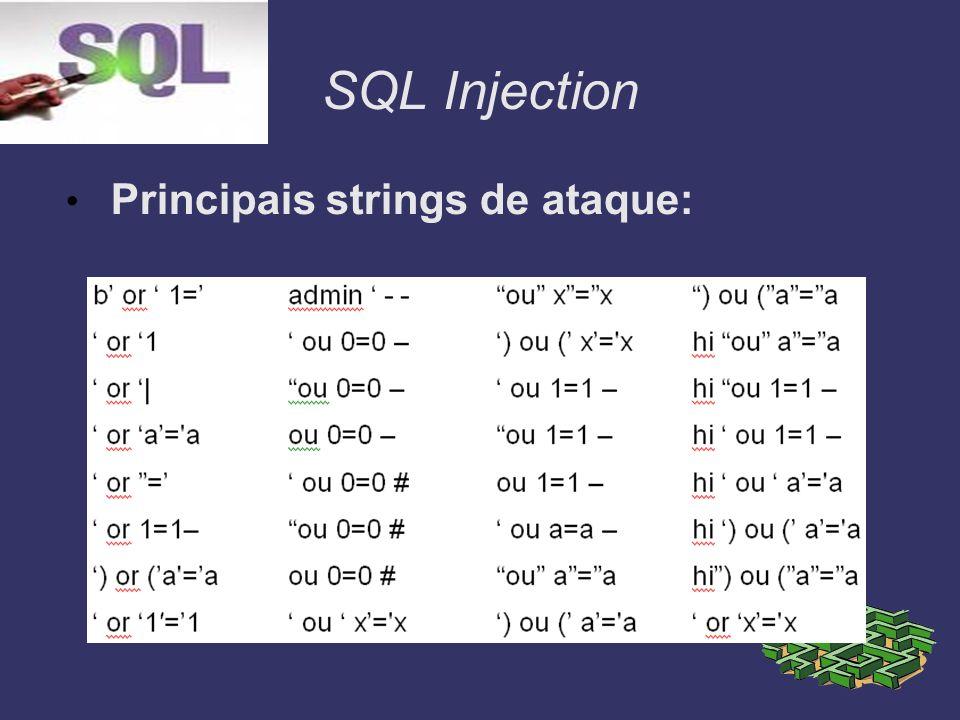 SQL Injection Dicas Sempre faça a validação das entradas do usuário, restringindo determinados caracteres.