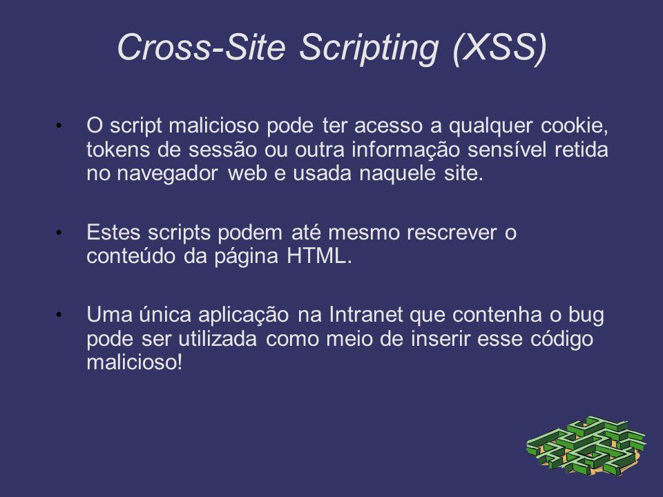 Cross-Site Scripting (XSS) O script malicioso pode ter acesso a qualquer cookie, tokens de sessão ou outra informação sensível retida no navegador web