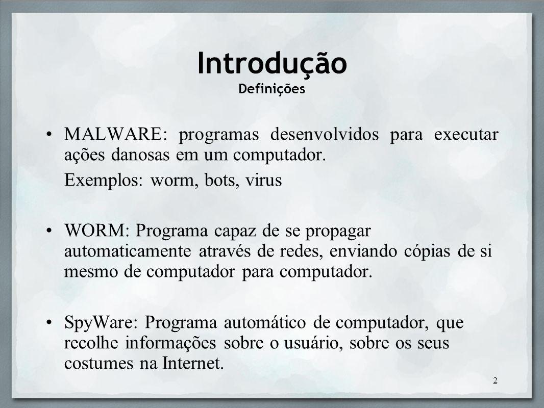 3 BOT: é um tipo de código malicioso que transforma o computador infectado em um zumbi, ou seja, a serviço de seu controlador.