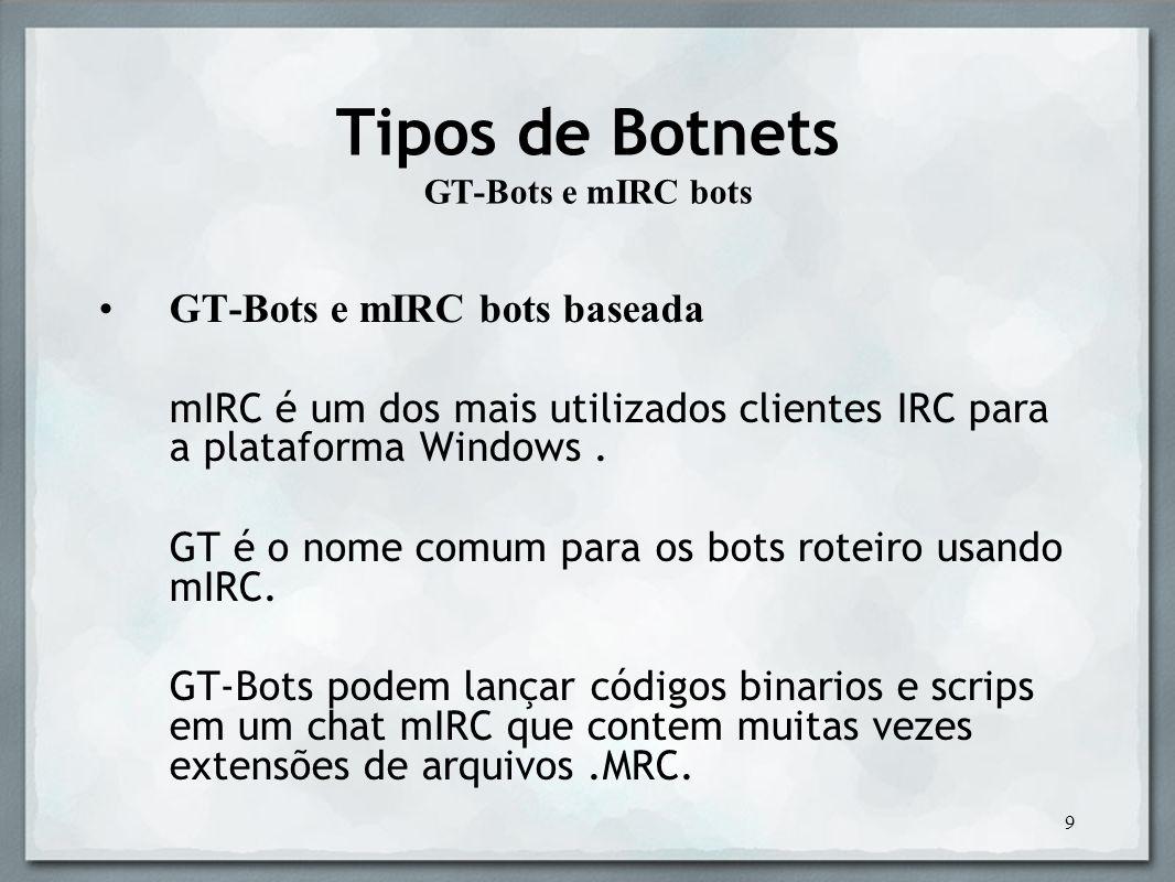 10 Tipos de Botnets XtremBot, Agobot, Forbot, Phatbot O robô é escrito usando C + + com várias plataformas capacidades como um compilador GPL e como o código- fonte Devido à sua abordagem modular, adicionando comandos ou scanners para aumentar a sua eficiência e tirar proveito de vulnerabilidades é bastante fácil.