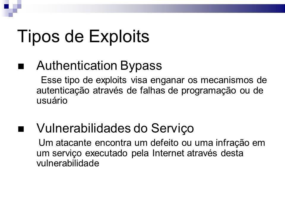 Tipos de Exploits Authentication Bypass Esse tipo de exploits visa enganar os mecanismos de autenticação através de falhas de programação ou de usuário Vulnerabilidades do Serviço Um atacante encontra um defeito ou uma infração em um serviço executado pela Internet através desta vulnerabilidade