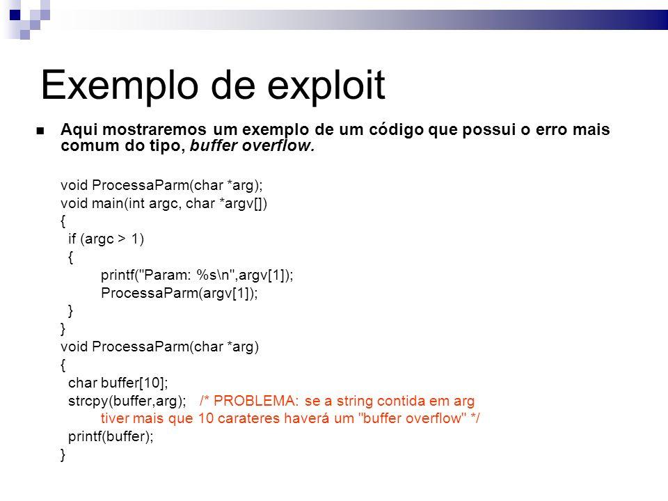 Exemplo de exploit Aqui mostraremos um exemplo de um código que possui o erro mais comum do tipo, buffer overflow.