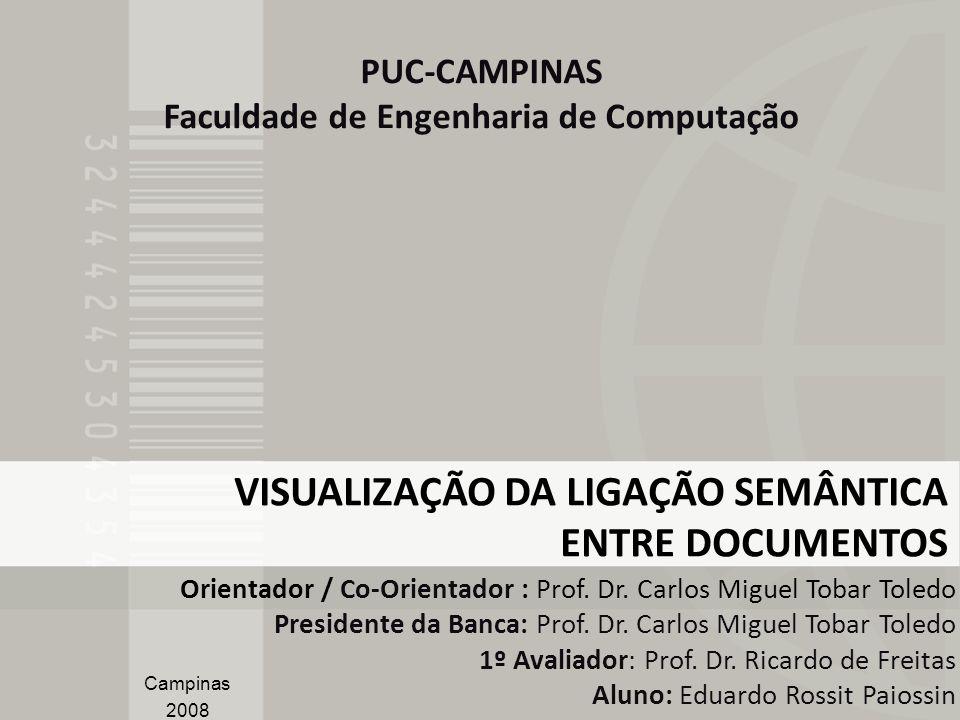 VISUALIZAÇÃO DA LIGAÇÃO SEMÂNTICA ENTRE DOCUMENTOS Orientador / Co-Orientador : Prof. Dr. Carlos Miguel Tobar Toledo Presidente da Banca: Prof. Dr. Ca