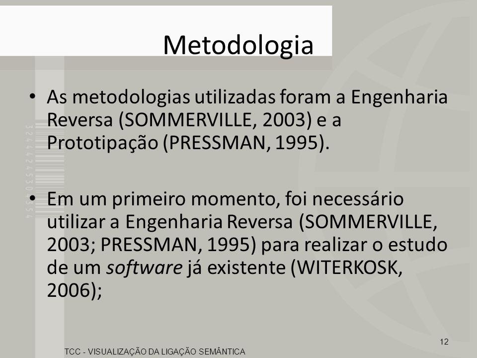 Metodologia As metodologias utilizadas foram a Engenharia Reversa (SOMMERVILLE, 2003) e a Prototipação (PRESSMAN, 1995). Em um primeiro momento, foi n