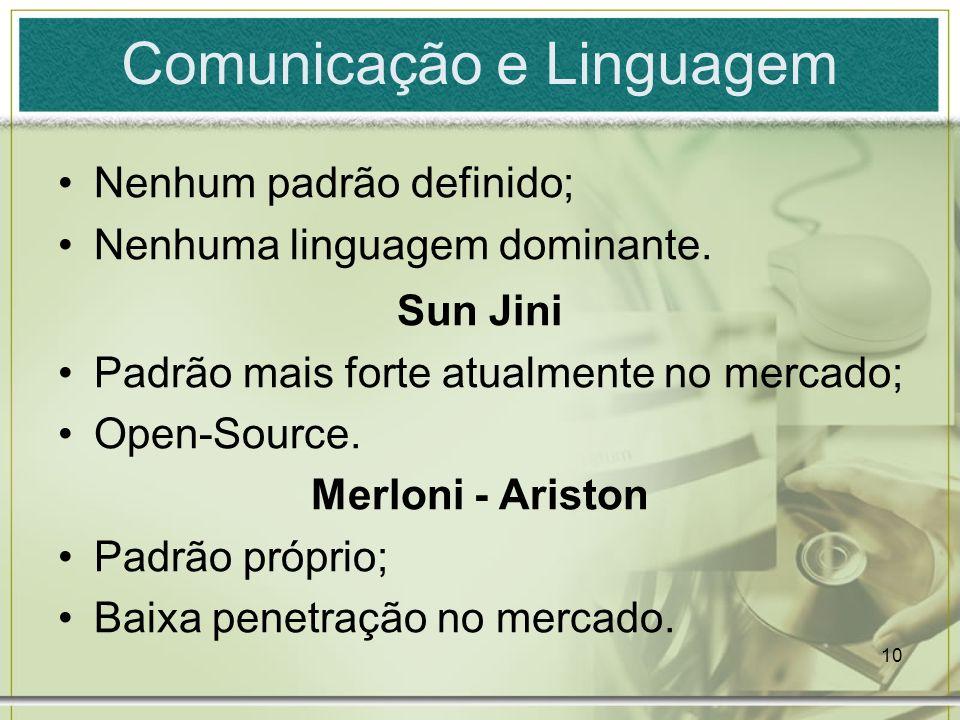 10 Comunicação e Linguagem Nenhum padrão definido; Nenhuma linguagem dominante. Sun Jini Padrão mais forte atualmente no mercado; Open-Source. Merloni