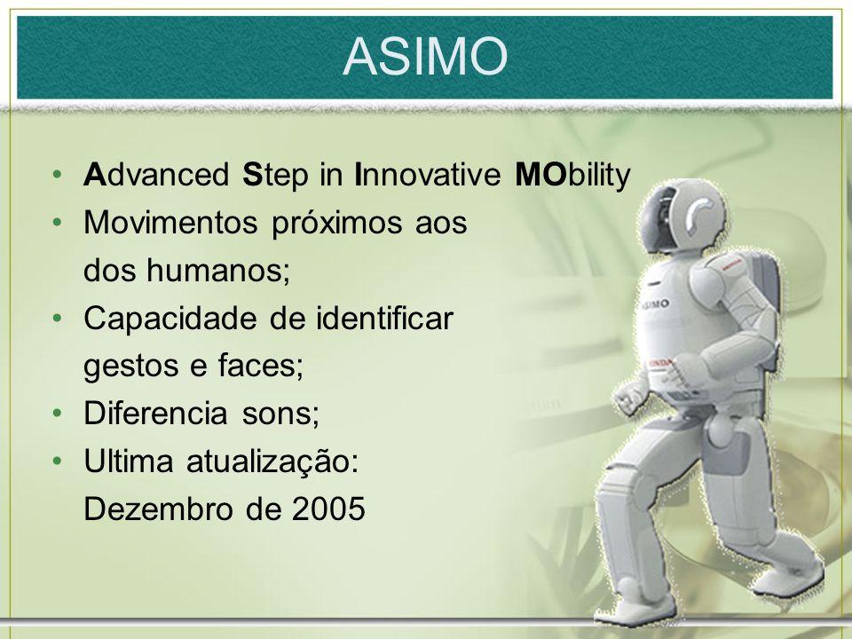 13 ASIMO Advanced Step in Innovative MObility Movimentos próximos aos dos humanos; Capacidade de identificar gestos e faces; Diferencia sons; Ultima a