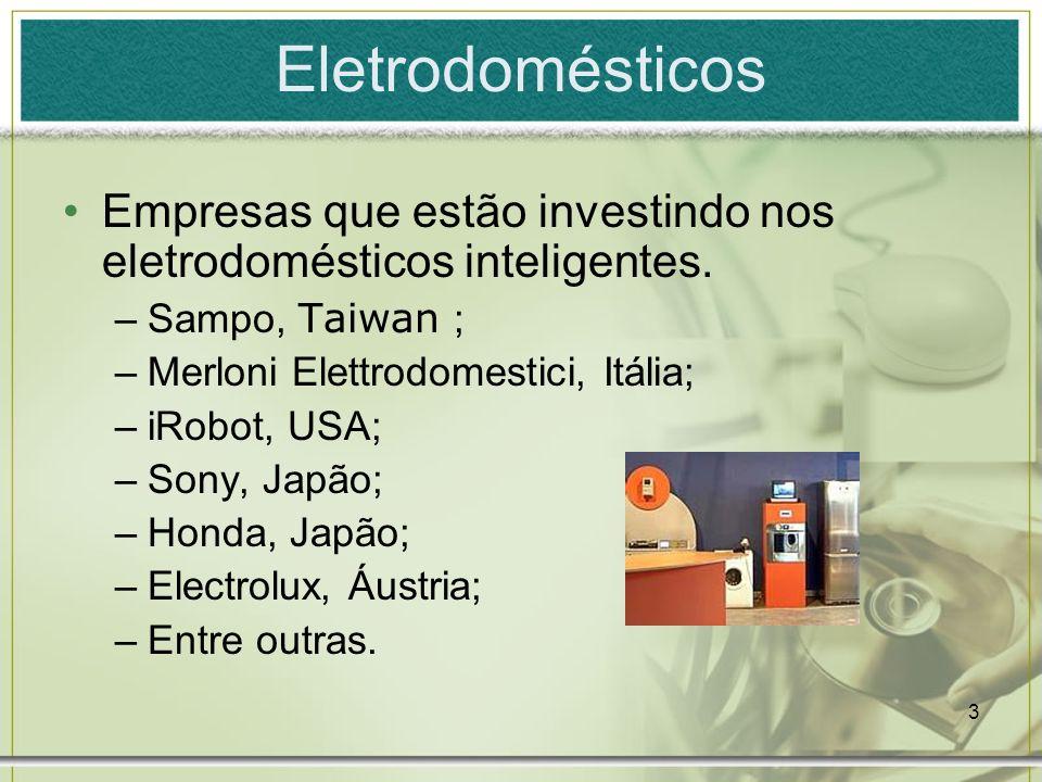 3 Empresas que estão investindo nos eletrodomésticos inteligentes. –Sampo, Taiwan ; –Merloni Elettrodomestici, Itália; –iRobot, USA; –Sony, Japão; –Ho