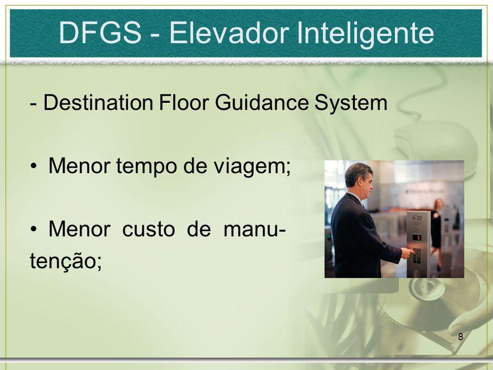 8 DFGS - Elevador Inteligente - Destination Floor Guidance System Menor tempo de viagem; Menor custo de manu- tenção;