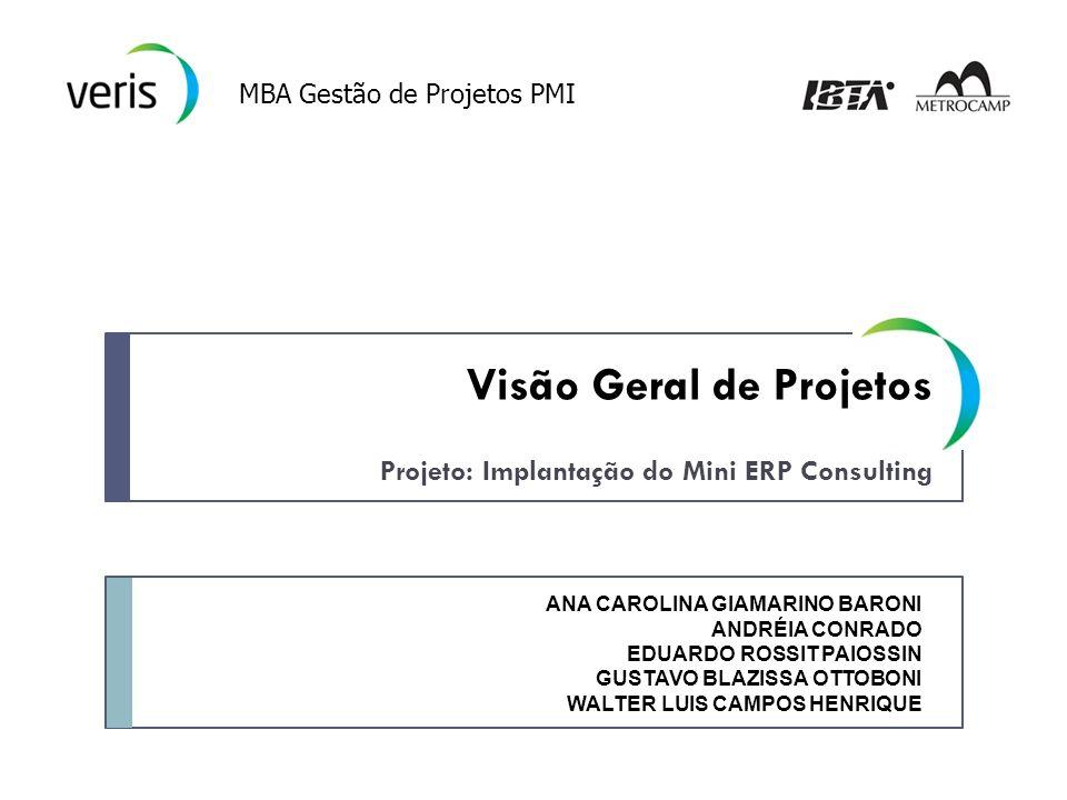 Projeto: Implantação do Mini ERP Consulting MBA Gestão de Projetos PMI ANA CAROLINA GIAMARINO BARONI ANDRÉIA CONRADO EDUARDO ROSSIT PAIOSSIN GUSTAVO BLAZISSA OTTOBONI WALTER LUIS CAMPOS HENRIQUE Visão Geral de Projetos
