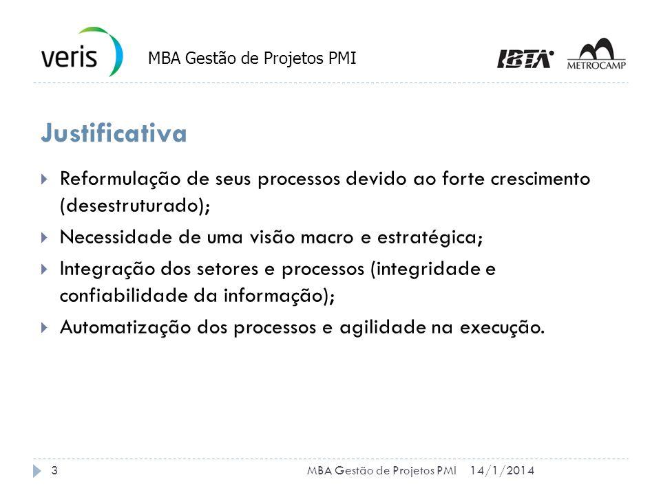 14/1/20144MBA Gestão de Projetos PMI Cronograma