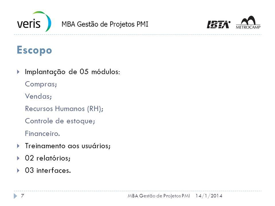 Restrições Prazo máximo do projeto: 7 meses Custo máximo do projeto: R$ 600.000,00 14/1/20148MBA Gestão de Projetos PMI
