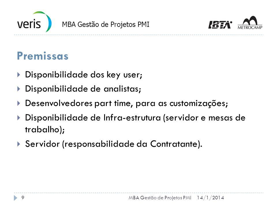 Premissas Disponibilidade dos key user; Disponibilidade de analistas; Desenvolvedores part time, para as customizações; Disponibilidade de Infra-estrutura (servidor e mesas de trabalho); Servidor (responsabilidade da Contratante).