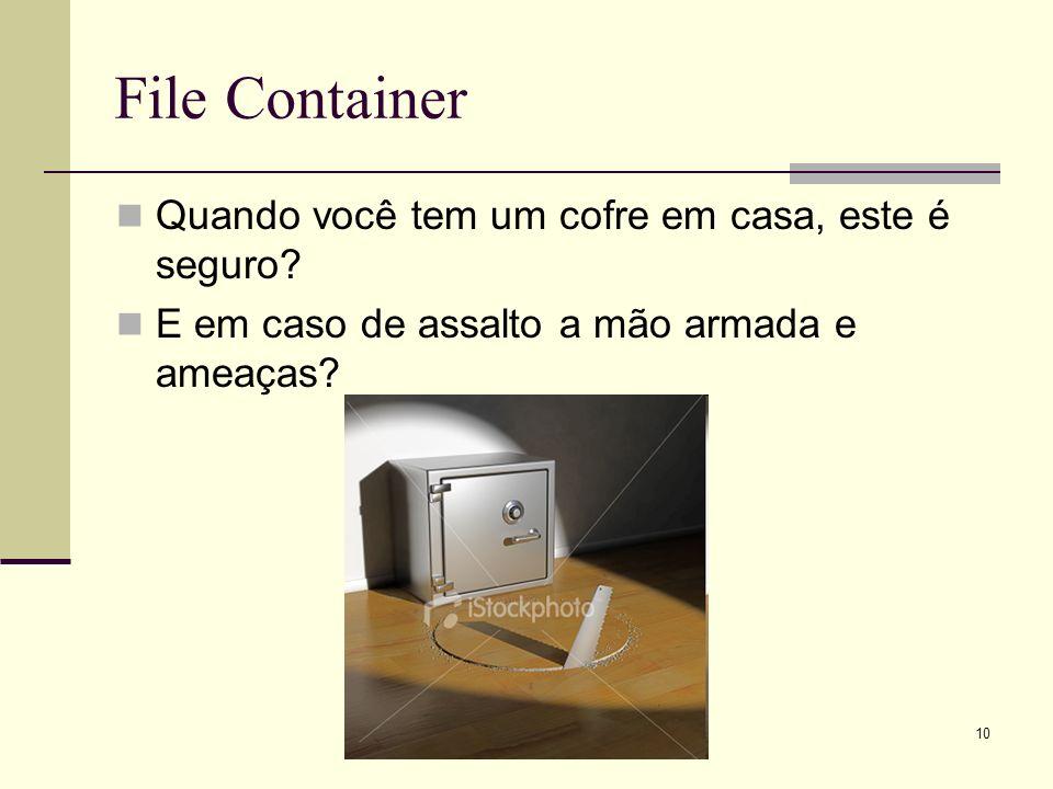 10 File Container Quando você tem um cofre em casa, este é seguro? E em caso de assalto a mão armada e ameaças?