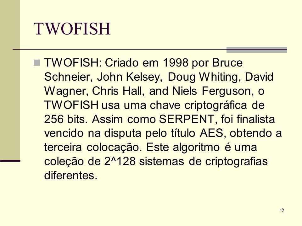 19 TWOFISH TWOFISH: Criado em 1998 por Bruce Schneier, John Kelsey, Doug Whiting, David Wagner, Chris Hall, and Niels Ferguson, o TWOFISH usa uma chave criptográfica de 256 bits.