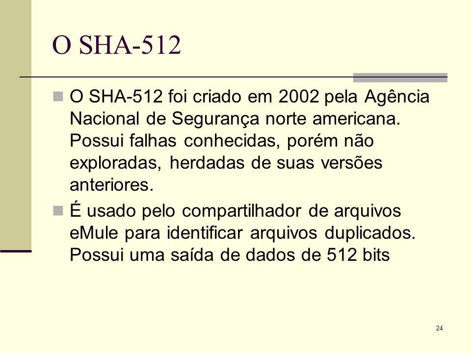 24 O SHA-512 O SHA-512 foi criado em 2002 pela Agência Nacional de Segurança norte americana. Possui falhas conhecidas, porém não exploradas, herdadas