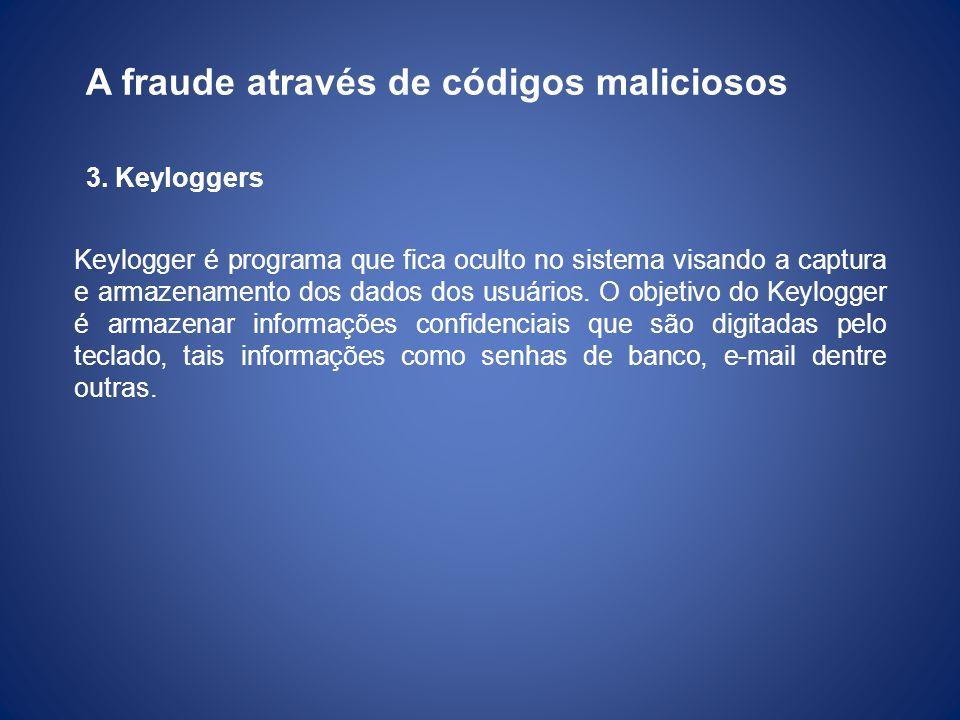 A fraude através de códigos maliciosos 3. Keyloggers Keylogger é programa que fica oculto no sistema visando a captura e armazenamento dos dados dos u
