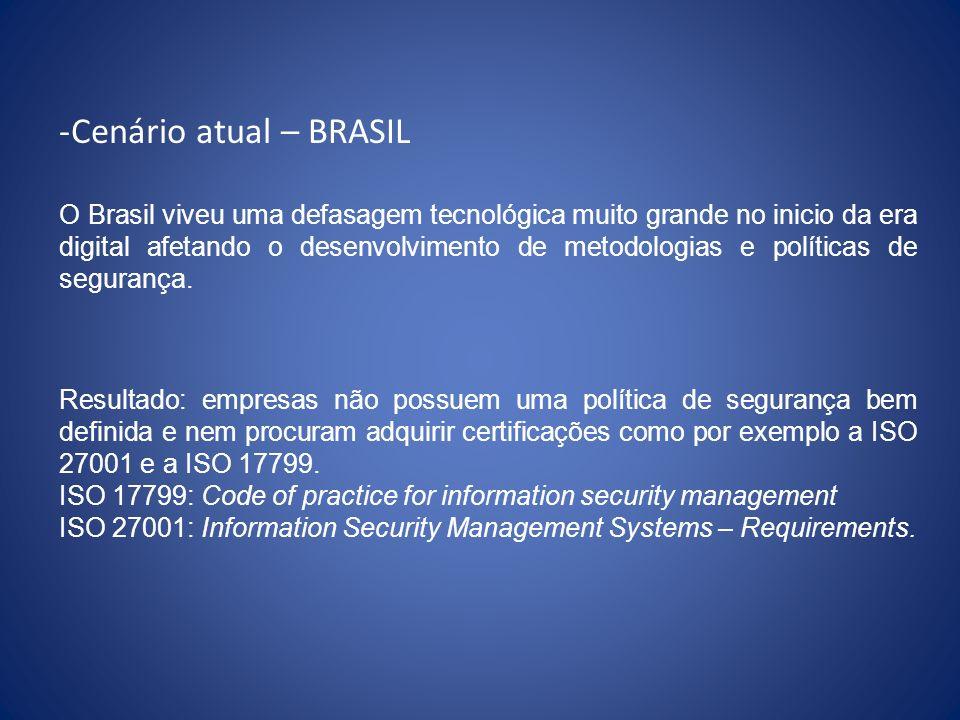 Cenário atual – BRASIL Recentemente, 13 de Junho de 2008 o governo brasileiro liberou uma Instrução Normativa GSI - Disciplina a Gestão de Segurança da Informação e Comunicações.